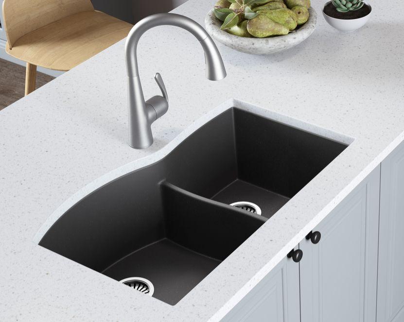 33 Granite Composite Undermount Double Bowl Kitchen Sink Lavello