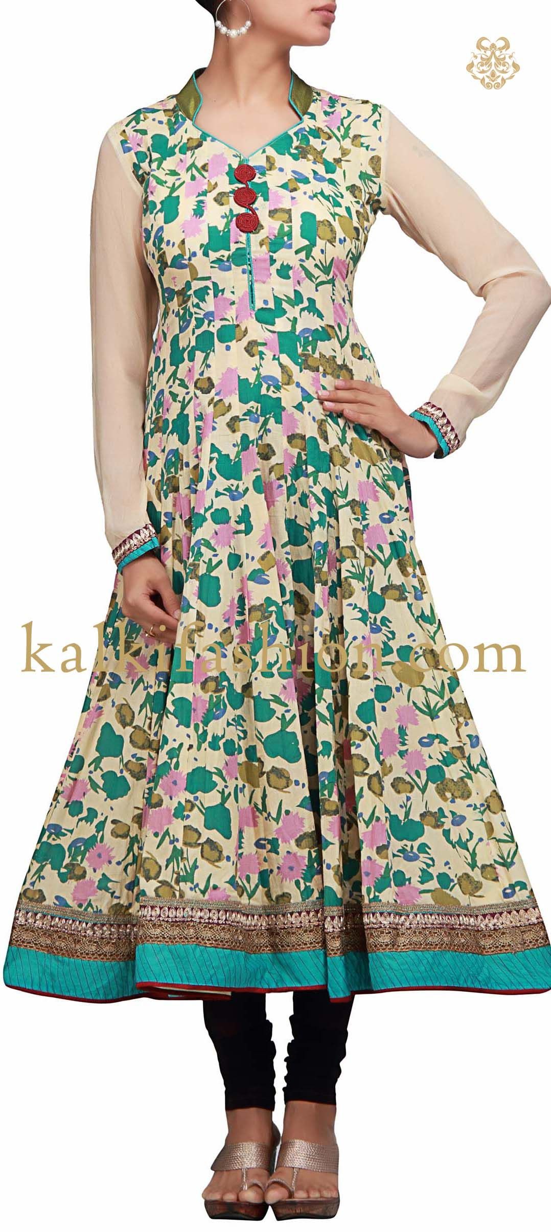Buy it now  http://www.kalkifashion.com/printed-kurti-in-green.html Printed kurti in green