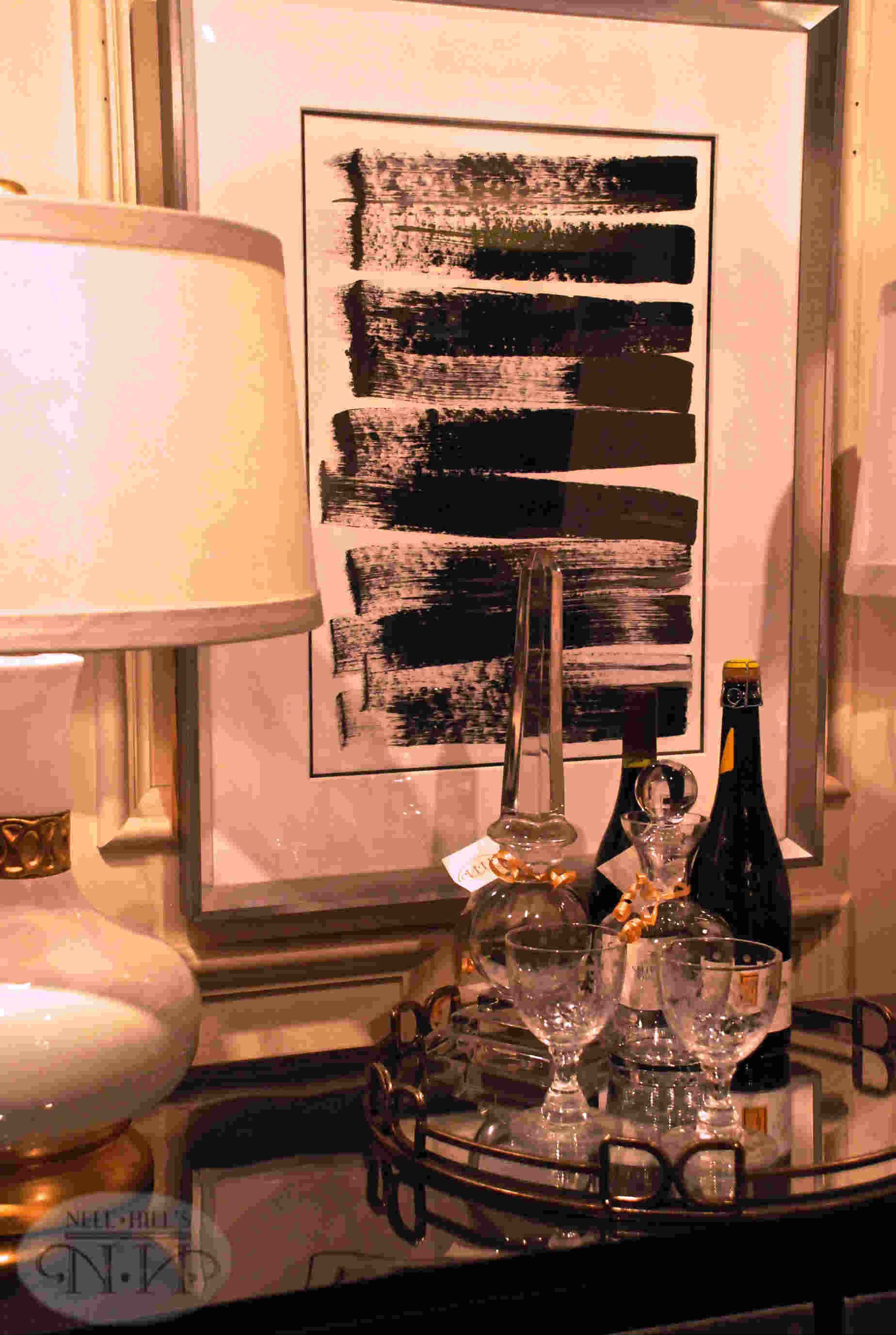 white and gold table lamp make a little bar