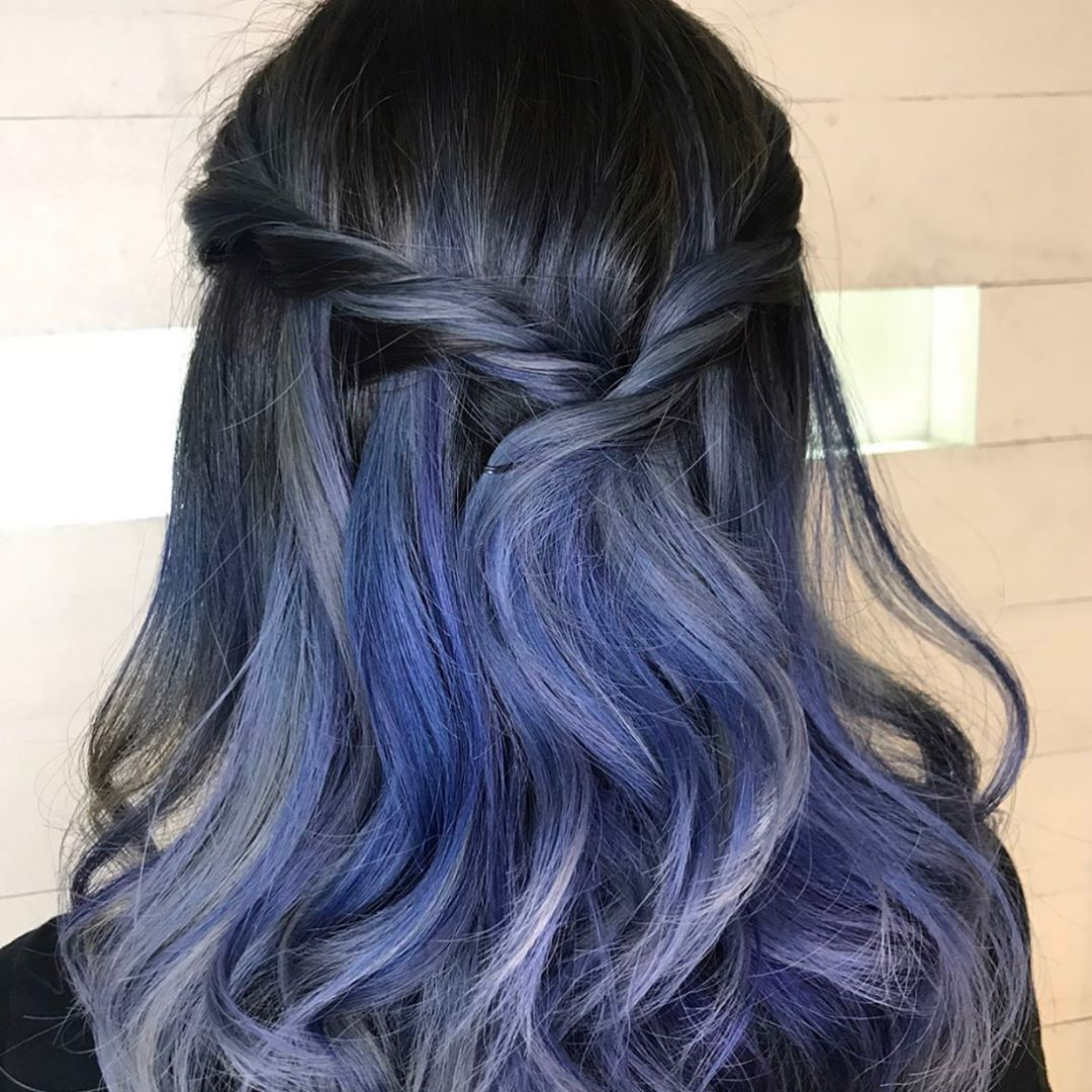 Closeups of a cool violetinfused blue grey color design time