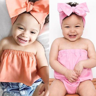 Newborn Baby Toddler Girl Floral Romper Jumpsuit+Headband Outfit Sunsuit Clothes