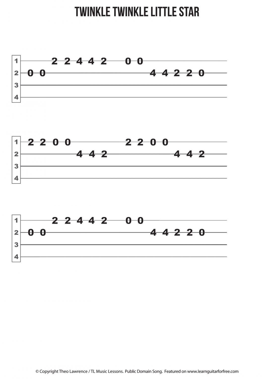 Twinkle Twinkle Little Star – Ukulele Easy Reading Tab | Teaching
