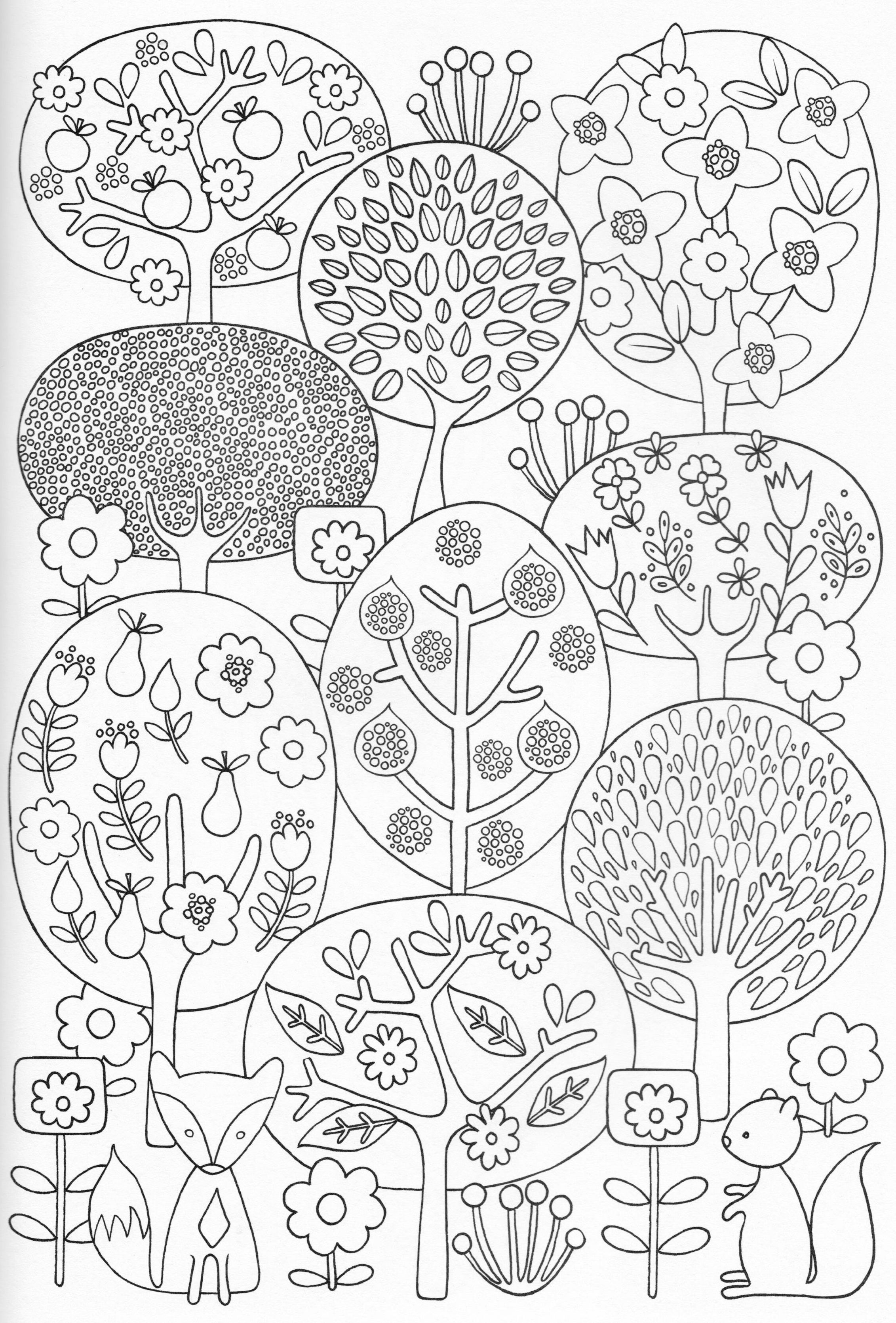 Flower drawings on pinterest dover publications coloring pages and - Scandinavian Coloring Book Pg 28 Features Fox Squirrel Fruit And Flowering Trees