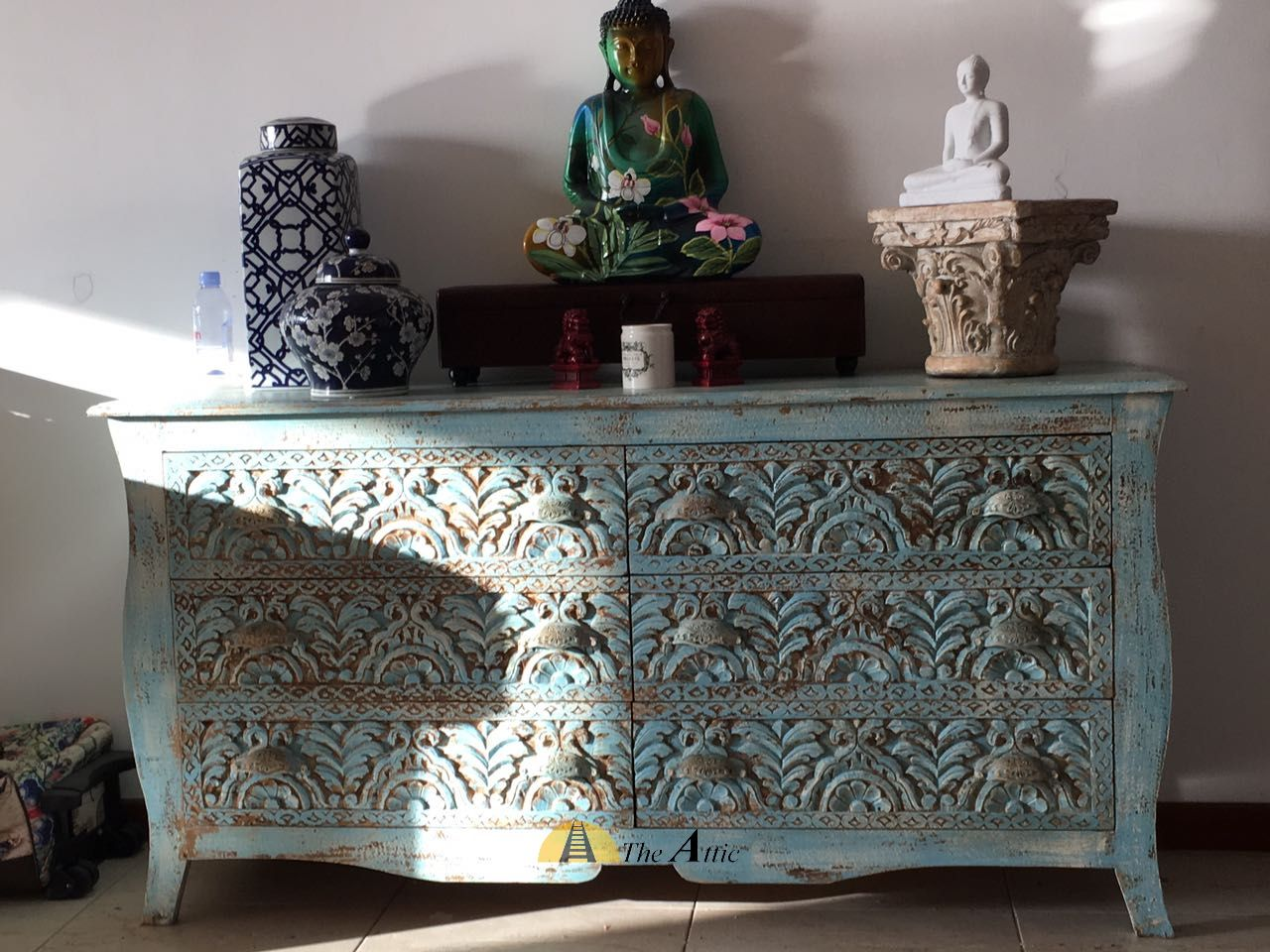Our Distressed Blue Chest Of Drawers Made Of Of Solid Mango Wood And  Intricately Carved By
