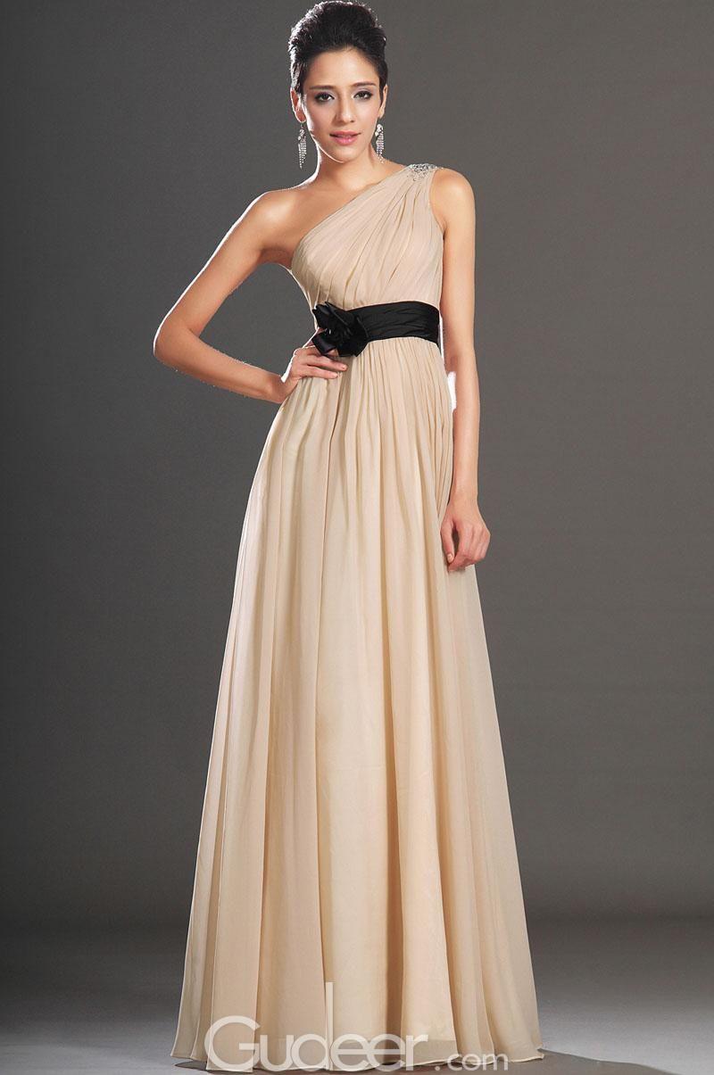 Simple one shoulder peach chiffon evning dress black ribbon