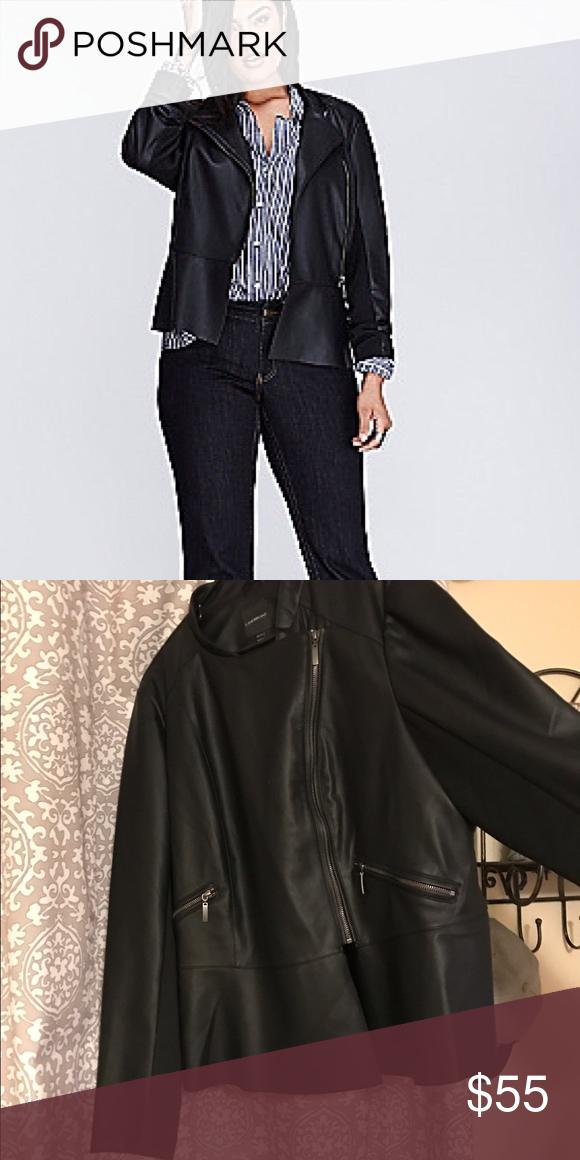 31196eb084ed7 Lane Bryant Jacket NWOT Black faux leather 22 24 peplum bomber Lane Bryant  Jackets   Coats