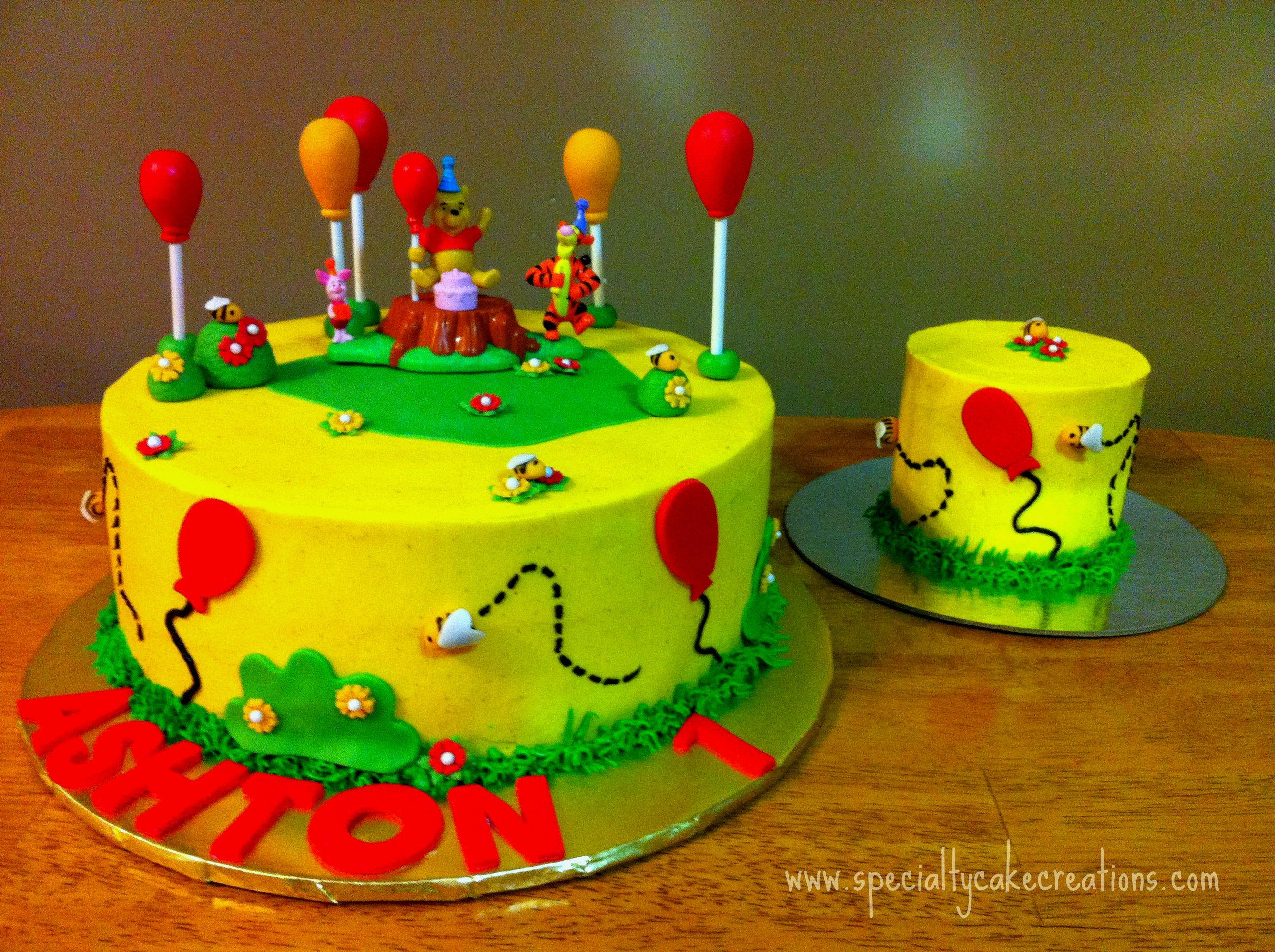 Winnie The Pooh First Birthday Cake With Smash Cake