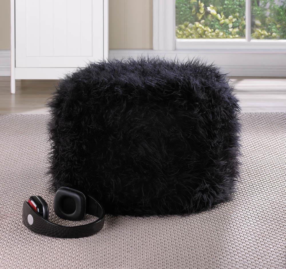 BLACK fuzzy footstool floor pillow cushion seat fabric bean bag ...