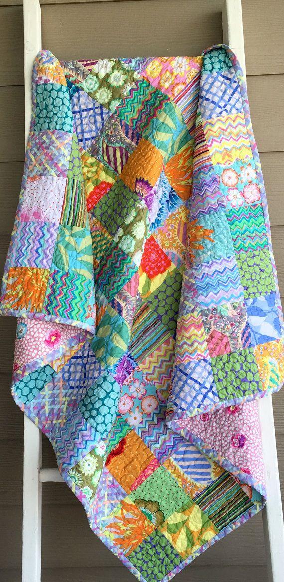 Ready to ship patchwork quilt, lap quilt, Kaffe Fassett fabrics ... : kaffe fassett fabrics quilting - Adamdwight.com