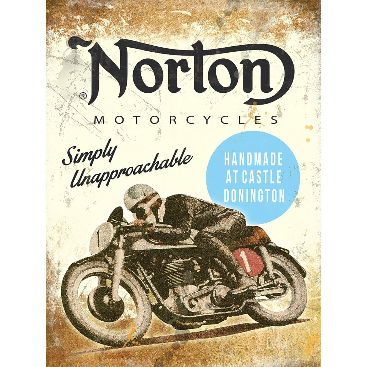 Angle Plaque Moto Norton Motorcycles Unapproachable Metal Sign D Vintage Style Metal