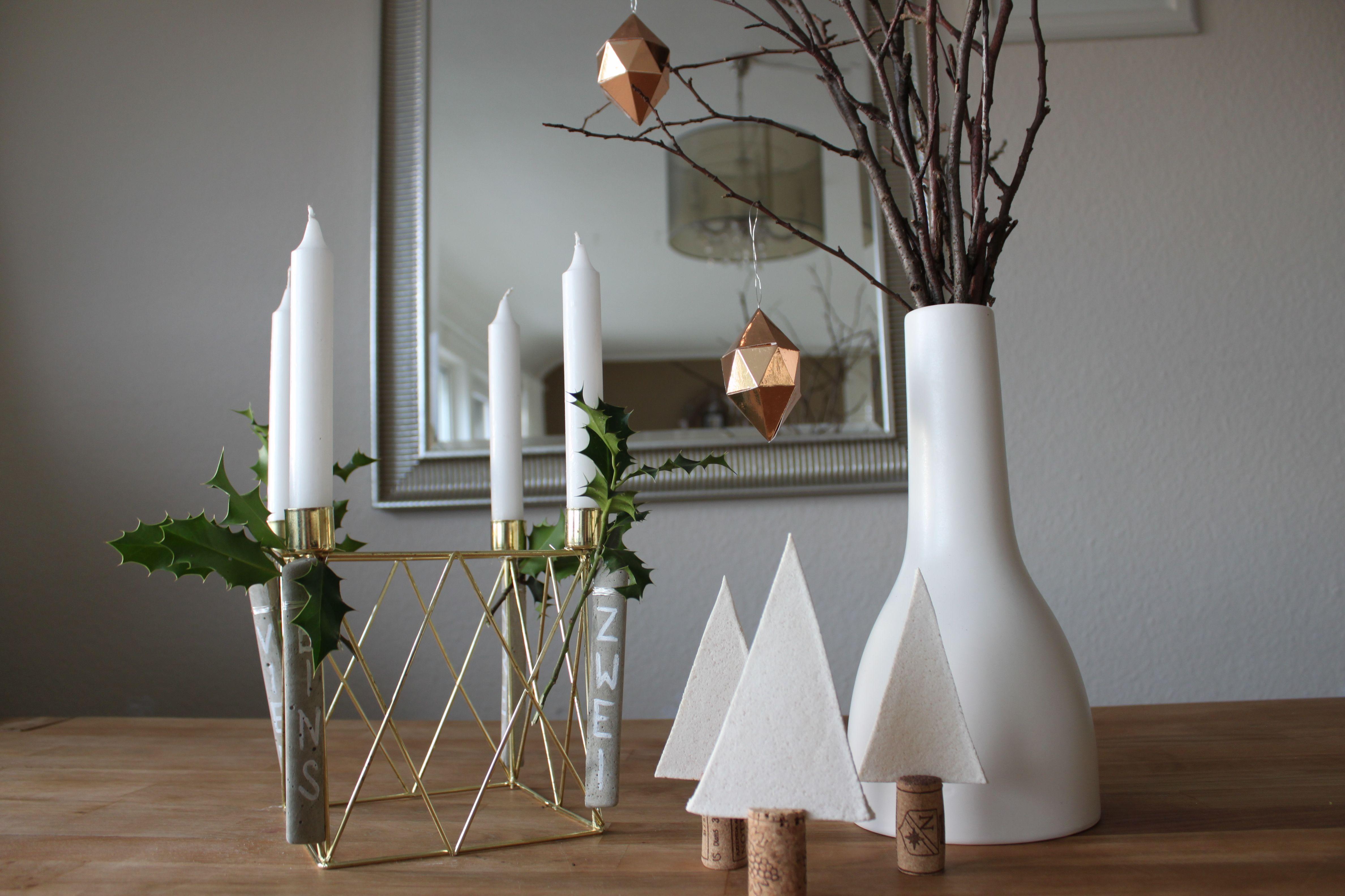 Blickfang Weihnachtsdeko Aus Papier Beste Wahl Diy Tisch Weihnachtsdeko: Adventskranz, Kupfer Diamanten Und