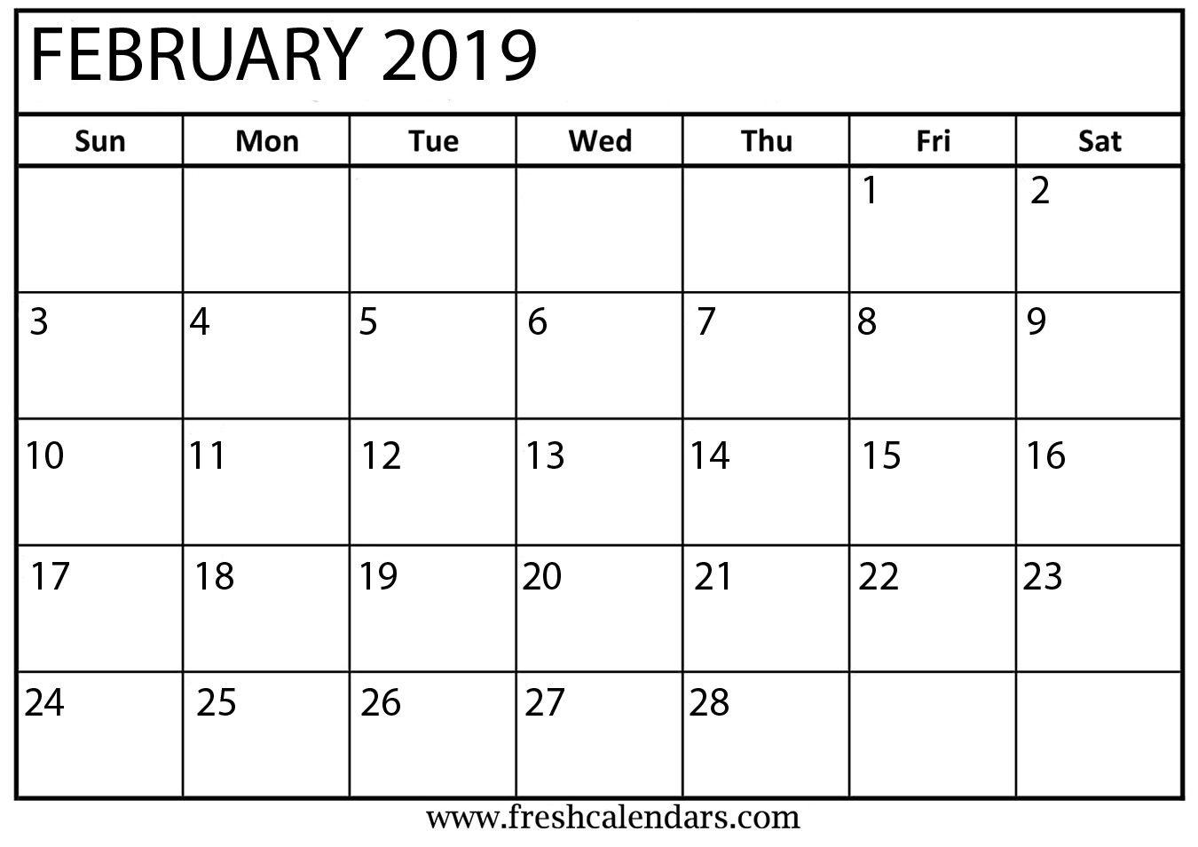 Feb Month Calendar 2019.February Month Calendar 2019 Blank Template Monthly Calendar