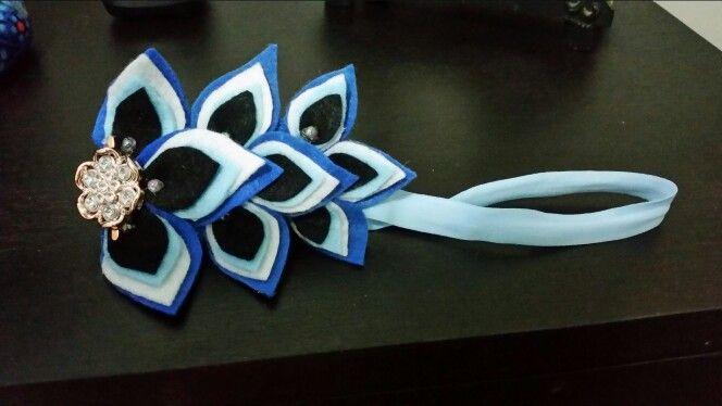 Cintillo feltro azul