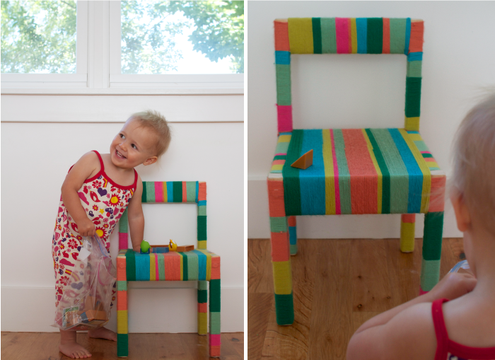 It might take awhile to do this to a grown-up chair... but it would be a great way to cover-up a banged up furnished flat chair without resorting to paint!