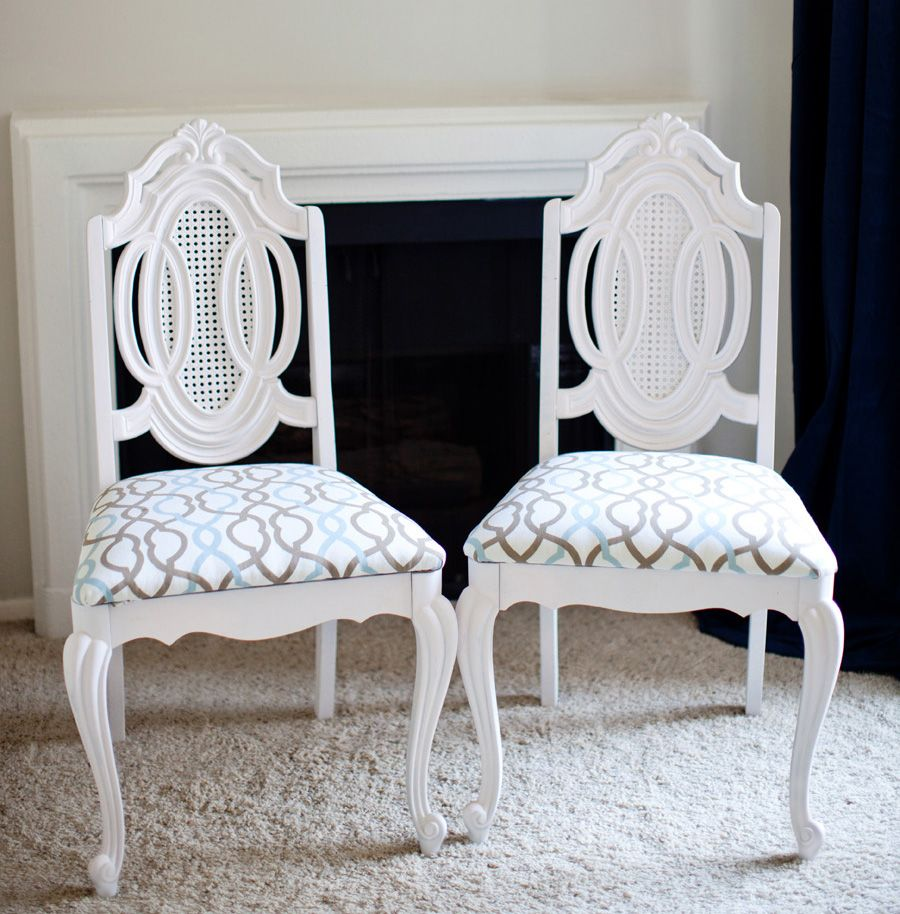 Repainted And Reupholstered Vintage Chairs