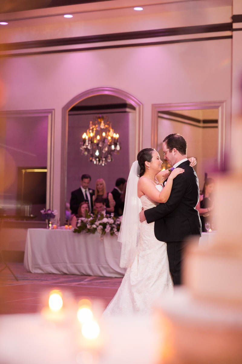 Bride and groom first dance purple and gold wedding at wyndham