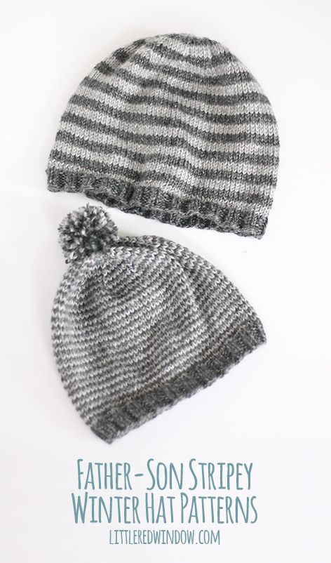 Father / Son Stripey Winter Hat Knitting Patterns | Knitting ...