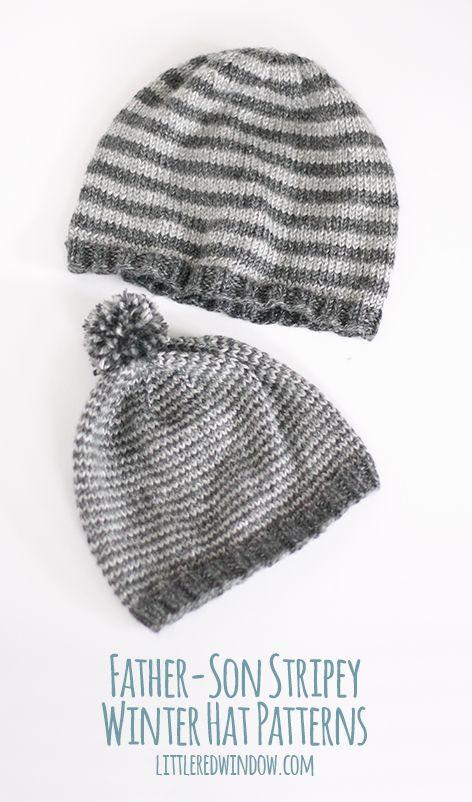 Father / Son Stripey Winter Hat Knitting Patterns | Mütze ...