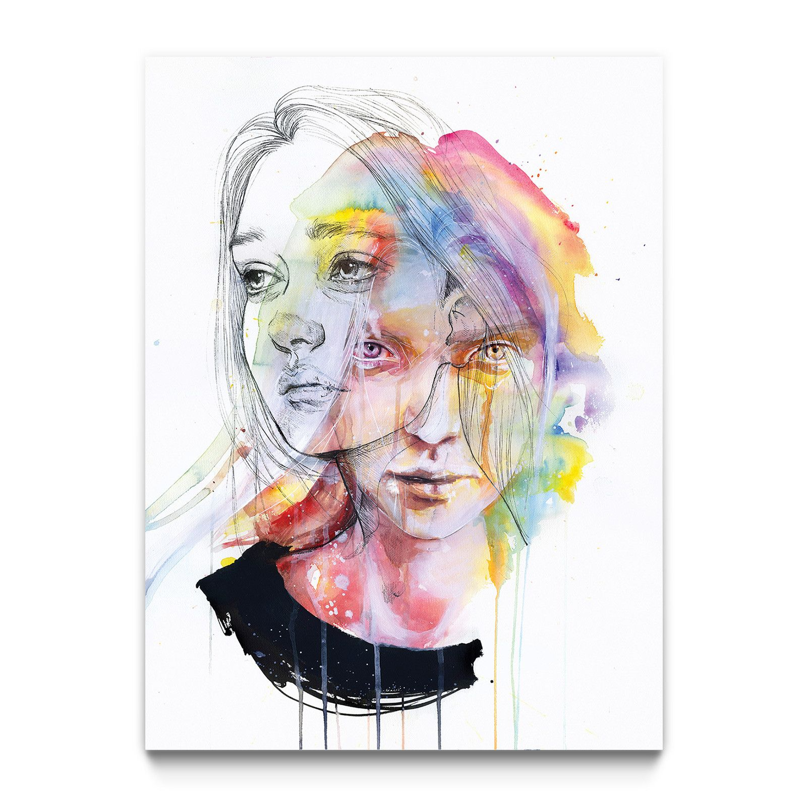 Girls Change Colors Portrait Art Portrait Drawing Watercolor