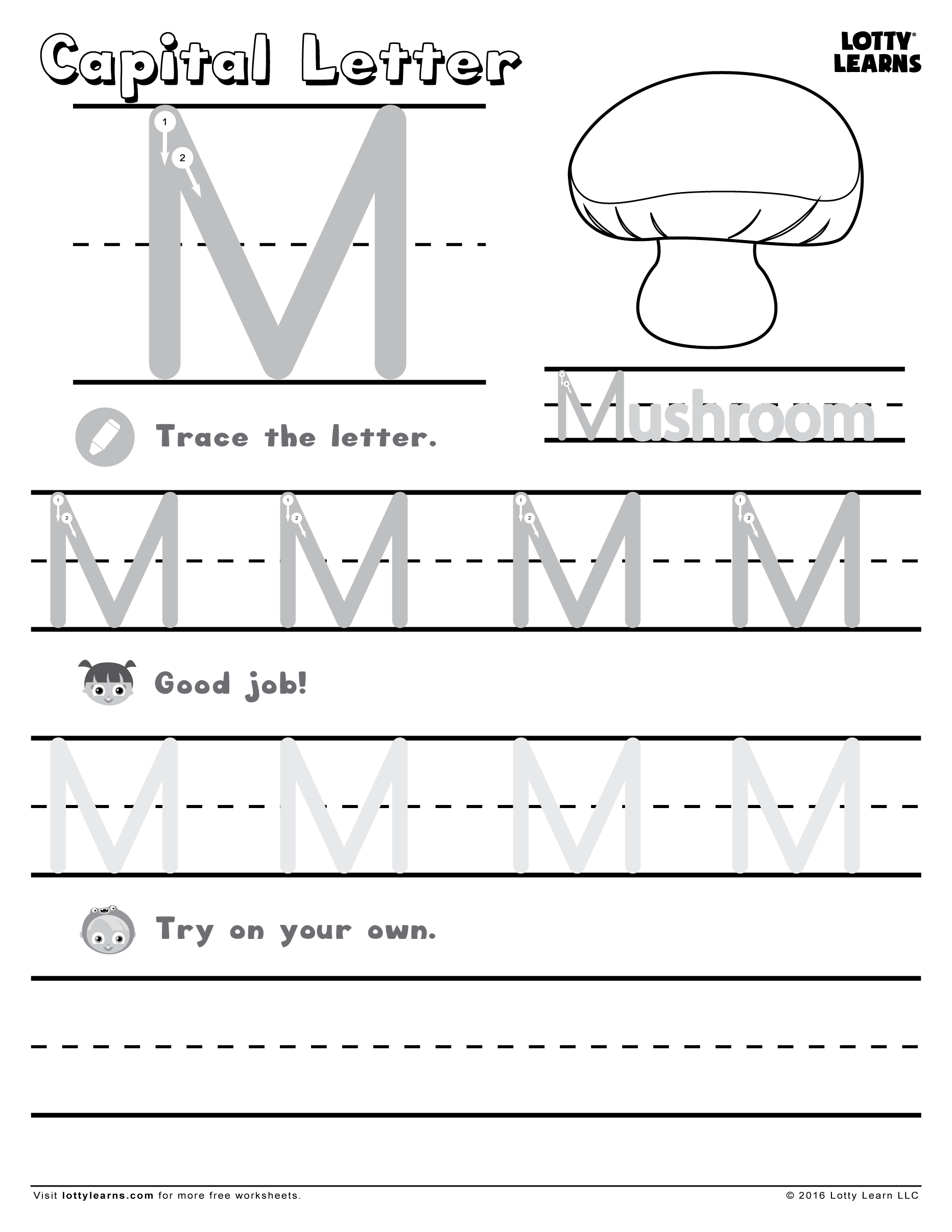 Capital Letter M Lotty Learns Learning To Write Alphabet Practice Sheets Capital Letters [ 2412 x 1864 Pixel ]