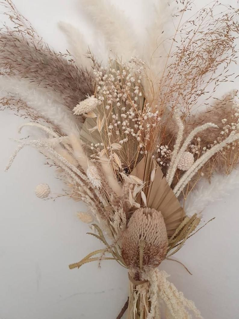 Neutral Real Dried Flower Arrangement Dried Flower Bouquet Etsy In 2020 Dried Flower Bouquet Dried Flower Arrangements Flower Arrangements