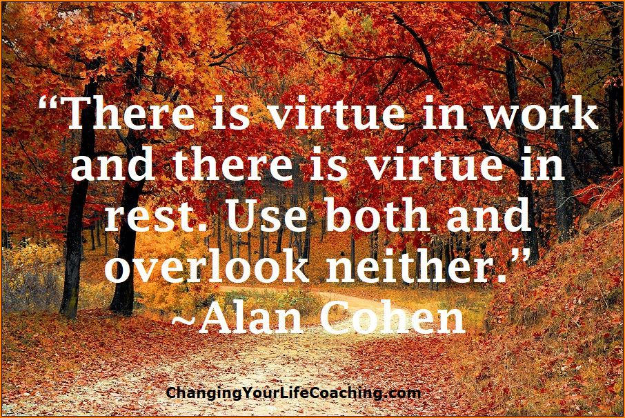 There Is Virtue In Work And There Is Virtue In Rest Use Both And