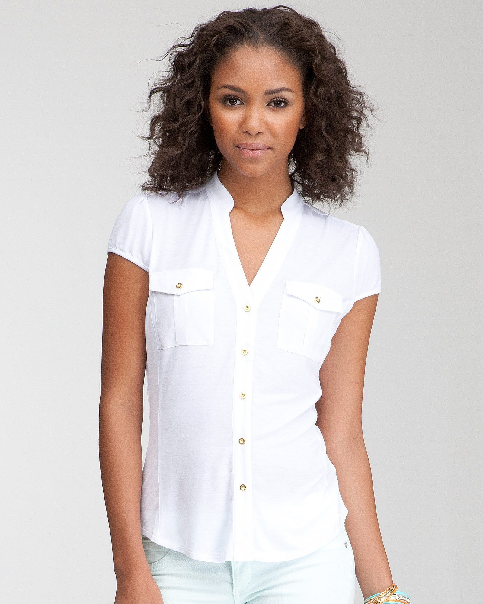 e561fa742816f A touch of safari-chic with a whole lot of 9-to-5.  bebe Contrast Knit Silk  Button Up Shirt