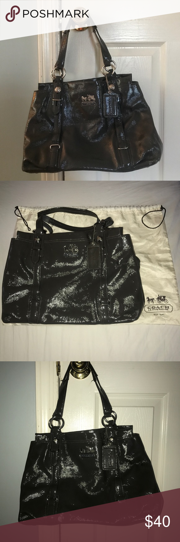 AUTHENTIC COACH MIA PATENT LEATHER PURSE Silver tone hardware Coach plate  on the front Zip top 7b31267fdf508