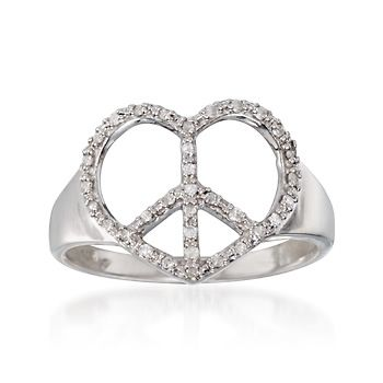.10 ct. t.w. Diamond Heart-Shaped Peace Sign Ring in Sterling Silver