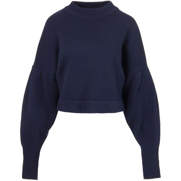 31edd3e5ddc Tibi Cashmere Pleated Sleeve Cropped Pullover ($595) ❤ liked on Polyvore  featuring tops, sweaters, midnight navy, loose sweaters, navy blue sweater,  ...