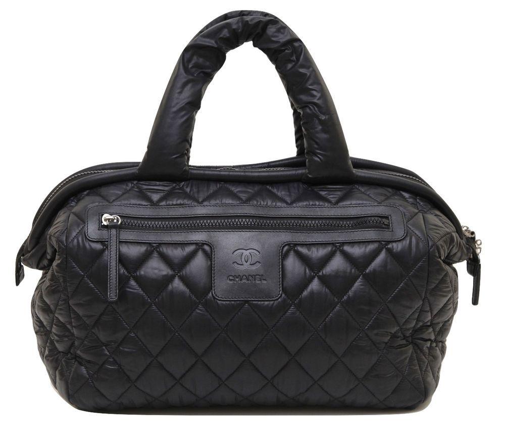 cb7c2e2441b3 Chanel Black Coco Cocoon Quilted Nylon BOSTON Bag Tote Silver Leather  DoPEEK!  CHANEL
