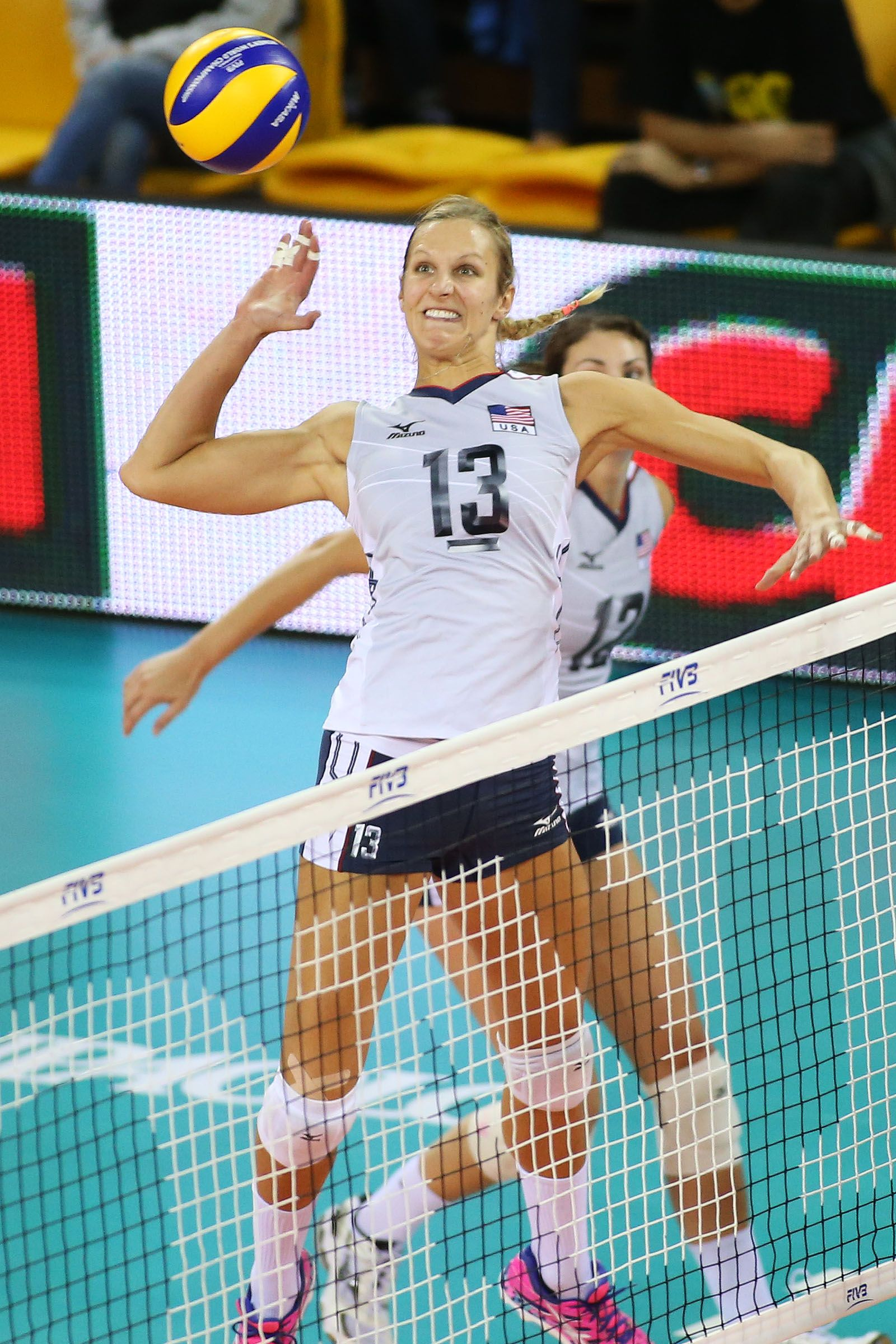 Usa S Team Captain Christa Harmotto Dietzen Shares Her Top Favorite Songs On Her Music Playlist See Here Http Team Usa Usa Volleyball Olympic Volleyball