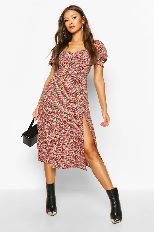Home Spot Pop Fashion Sweetheart Neck Midi Dress Bodycon Fashion Printed Dress Street Style [ 1500 x 1000 Pixel ]