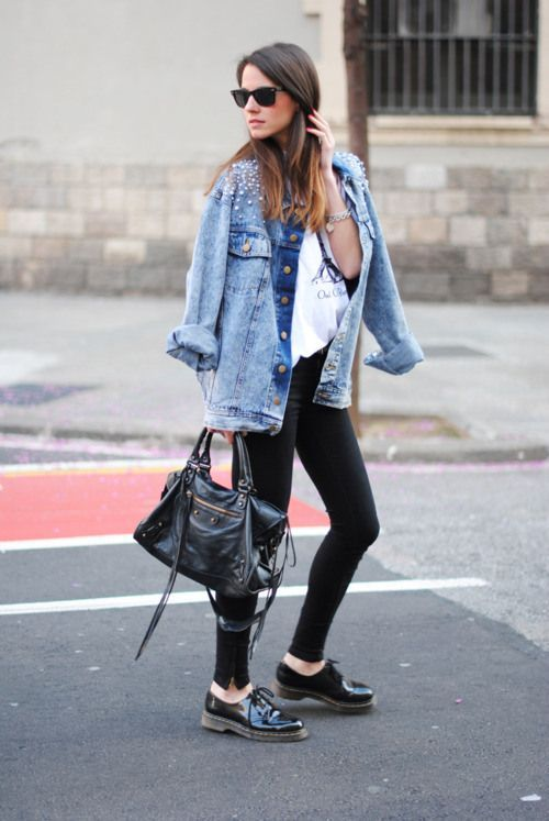 Women's Light Blue Embellished Denim Jacket, White and Black Print ...