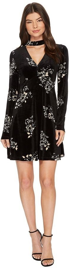 Romeo & Juliet Couture Floral Print Velvet Dress