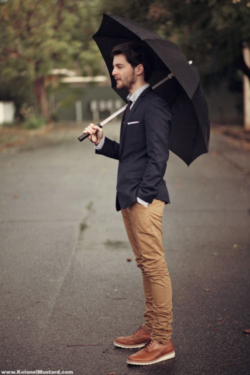 men fashion - Navy blue and tan