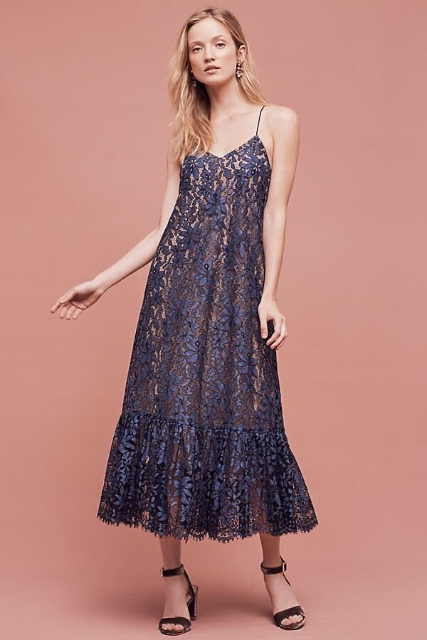 Anthropologie Celestial Lace Maxi Dress Moulinette Souers Blue Sz 10 ...