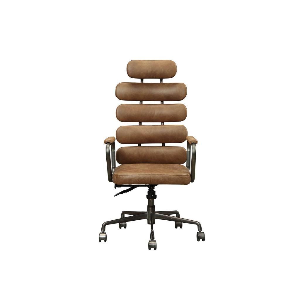 Acme Furniture Calan Retro Brown Top Grain Leather Executive Office Chair 92108 Executive Office Chairs Retro Office Chair Antique Wooden Chairs