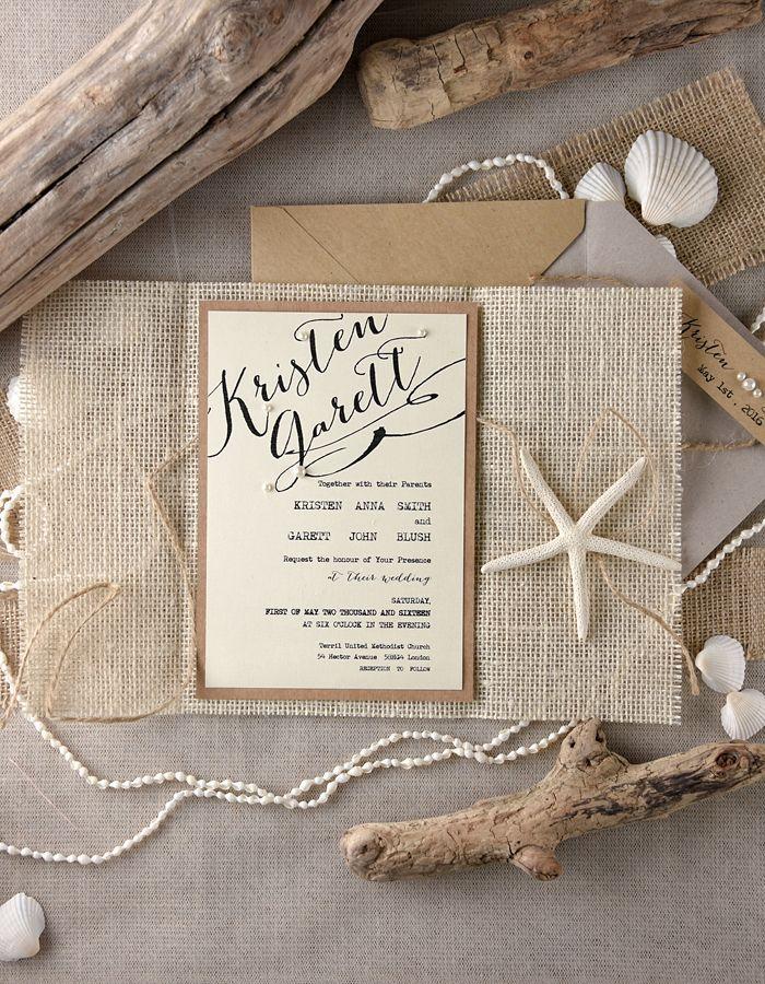 Rustic beach themed wedding invitations from 4lovepolkadots