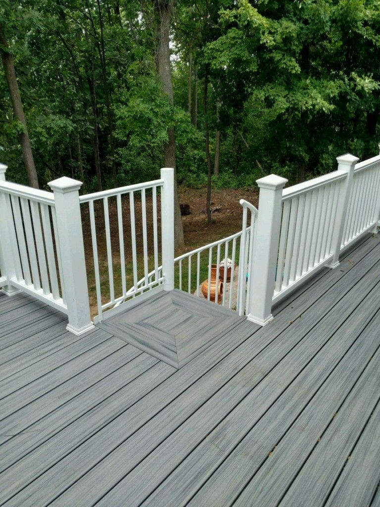 island mist trex deck with matching spiral stairs