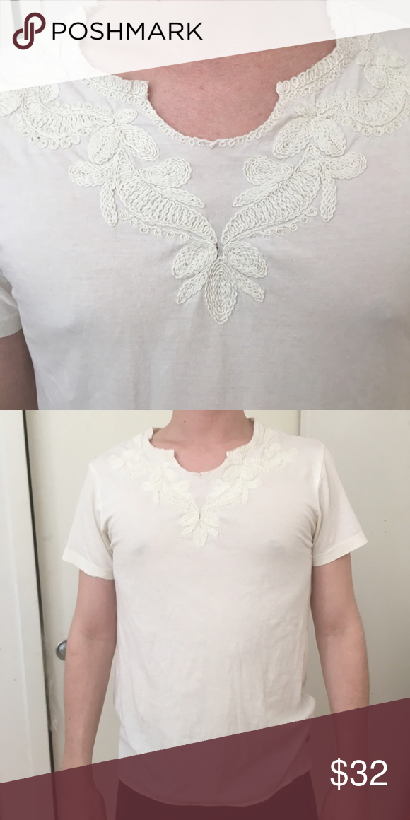 Men's Zara Resort embroidered crochet t shirt Cream colored crochet t shirt from Zara Man -- this look has been seen all over the couture runway shows for MFW -- never worn -- condition is built into the price Zara Shirts Tees - Short Sleeve