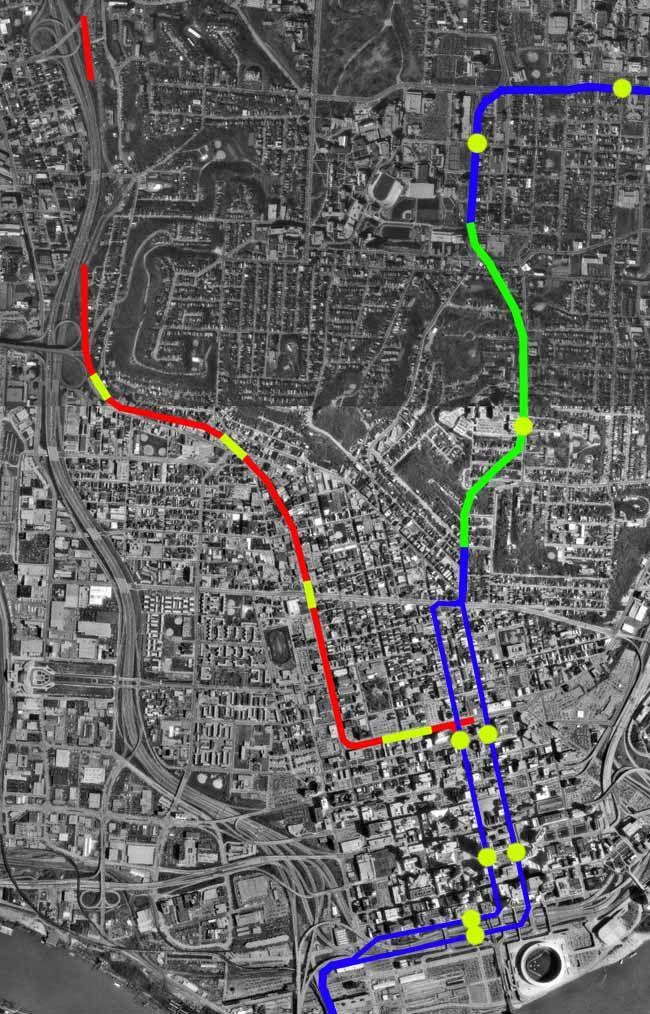 Cincinnati Subway Map.Cincinnati Subway Red Line Denotes Completed Tunnels Modern Ruins