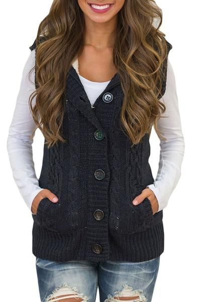 0796361211 Women Black Cable Knit Hooded Sweater Vest  hoody  knit  sweaters  fashion   style  newyearseve  blackfriday