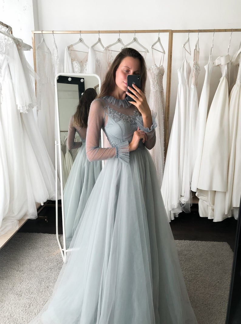 Gray Vintage Style Prom Dress Victorian Style Wedding Dress Etsy In 2021 Prom Dresses Long With Sleeves Vintage Style Prom Dresses Prom Dresses With Sleeves [ 1067 x 794 Pixel ]