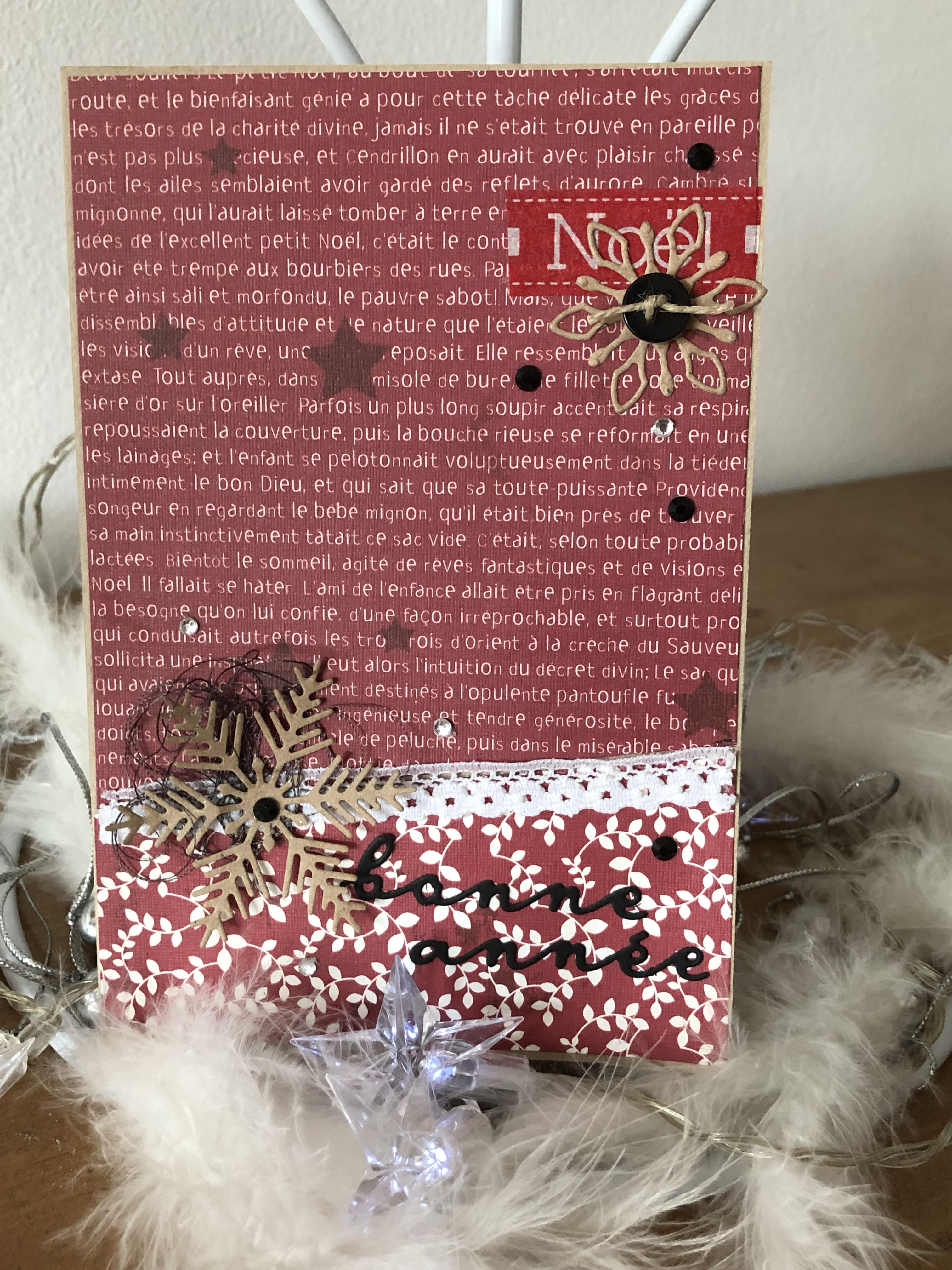 Avec De Vielles Chutes Papiers Theme Noel Carte Noel Carte