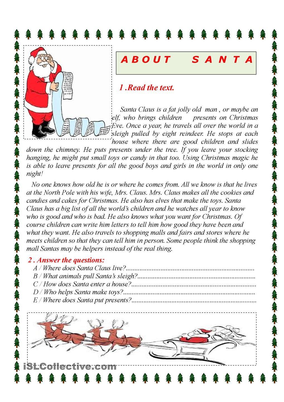 about santa christmas english classroom teaching english grammar y english christmas. Black Bedroom Furniture Sets. Home Design Ideas