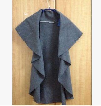 Hot Sale 2015 European Fashion Women Ladies Woolen Vest Women Sleeveless Jacket Coat Shawl 5 Colors Free Size