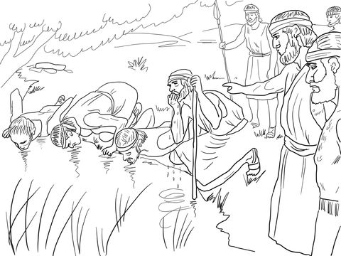 Gideon Selects His Army Of 300 Men Coloring Page Free Printable Coloring Pages Sunday School Coloring Pages Bible Coloring Pages Coloring Pages