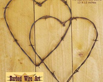 Love Birds in a Heart mounted on wood by BarbedWireArtist on Etsy