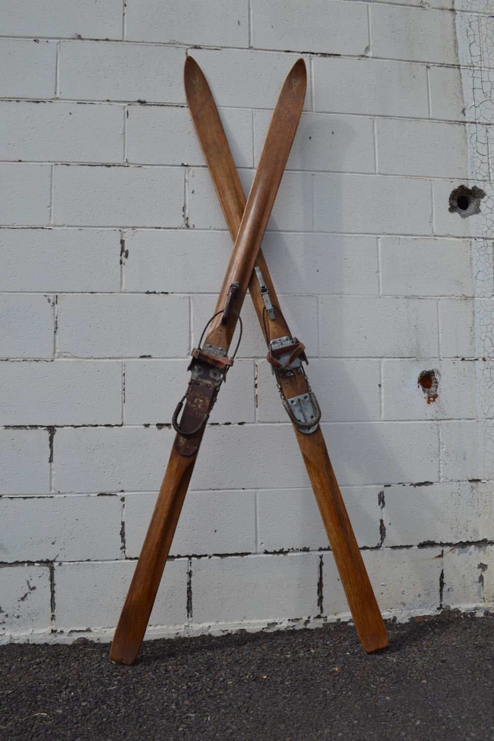 Vintage Wooden Snow Ski Antique Mercury Wooden Skis Cross